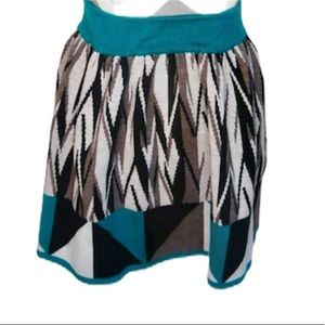 Urban Outfitters Geometric knit Print Teal Skirt